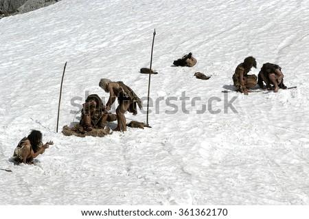 prehistoric man - stock photo