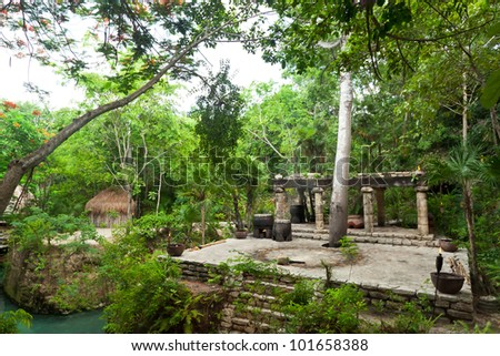 Prehistoric Mayan altar in the jungle of Mexico - stock photo