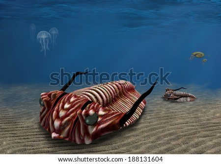 Prehistoric trilobite scavenging on the ocean floor - stock photo
