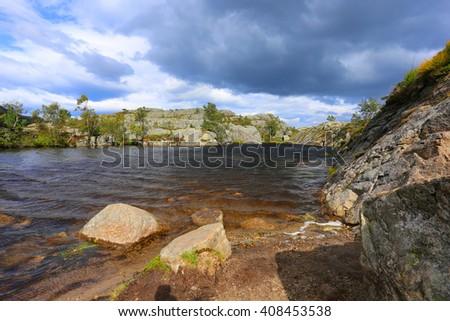 preikestolen Norway lysefjord fjord stavanger - stock photo