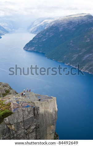 Preikestolen pulpit-rock view in Norway fjord landscape - stock photo