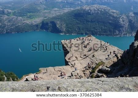 Prekestolen rock from above, Norway - stock photo