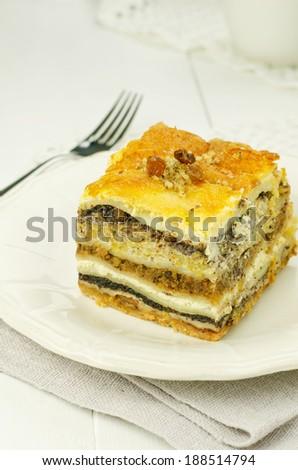 Prekmurian layer cake. National specialty of Slovenia - stock photo