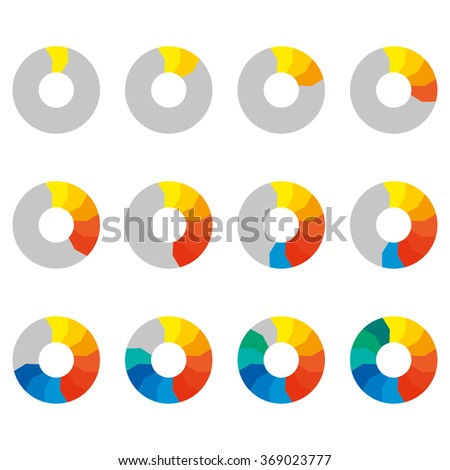 Preloaders icon set. Loading and buffering symbols. Step by step infographics. Colorful pie chart, diagram and graph with steps.