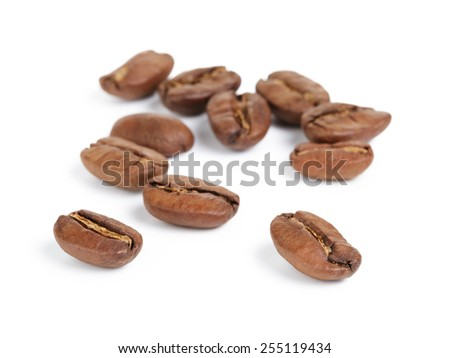 premium coffee beans isolated on white background