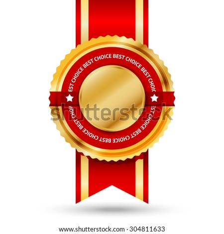 Premium golden and red Best Seller label with -Best choice- text around it. Isolated on white background.