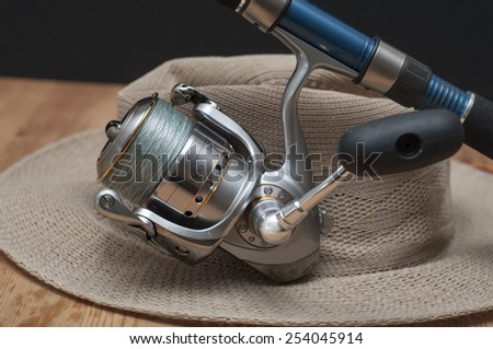 Premium japanese high-end, heavy duty sports fishing reel for spinning and jigging / Spinning reel / Meticulously made, fluid movement to reduced fatigue, for saltwater offshore - stock photo