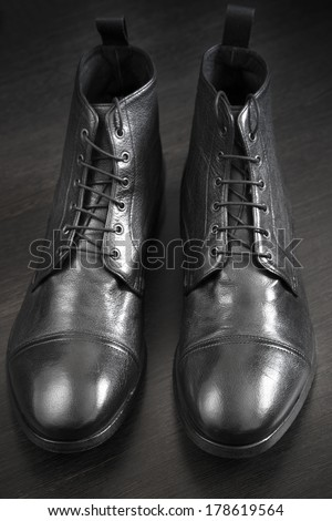 premium leather  shoes, selective focus on nearest part