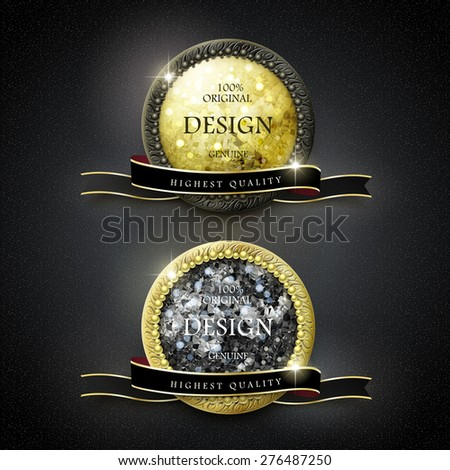premium quality golden labels with diamond elements over black background - stock photo