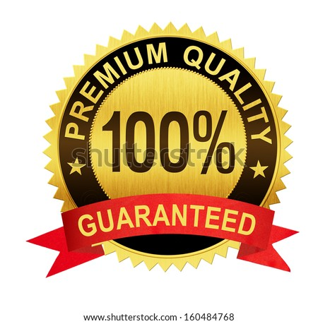 premium quality guaranteed gold seal medal with red ribbon isolated - stock photo