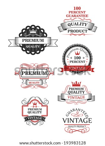 Premium quality label collection of seven different designs guaranteeing the best or 100 per cent vintage quality. Vector version also available in gallery - stock photo
