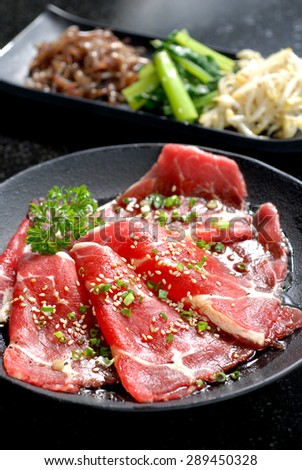 Premium raw japanese kobe beef sliced on plate - stock photo