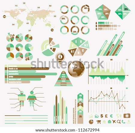 Premium Retro infographics eco  collection: graphs, histograms, arrows, chart, 3D globe, icons and a lot of related design elements. - stock photo