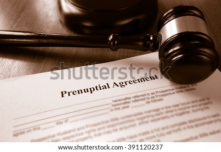 Prenuptial marriage agreement with a gavel
