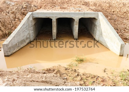 Preparation construction a drainage pipe - stock photo
