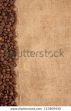 preparation for a coffee menu is made from coffee beans, line and burlap - stock photo