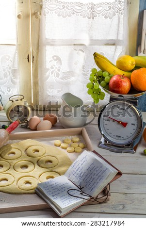 Preparation for donuts made of fresh ingredients - stock photo