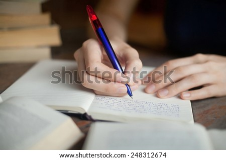 preparation for exam - stock photo