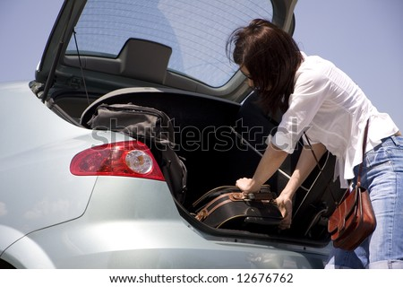 preparation for trip - stock photo