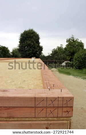 Preparation for wood construction. Ceiling insulation. - stock photo