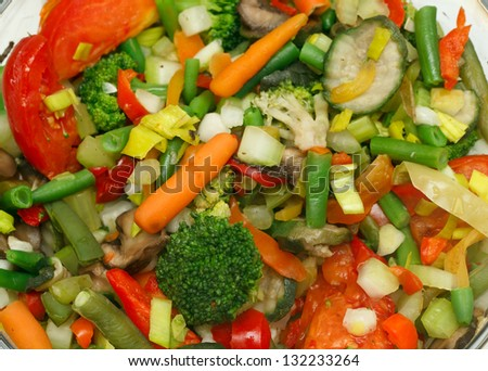 preparation of boiled vegetables in a double boiler