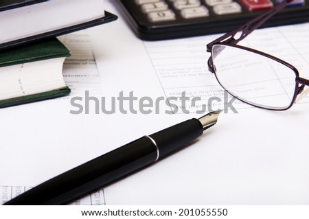 Preparation of business reports. Hard work. - stock photo
