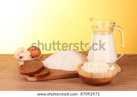 preparation of dough on wooden background