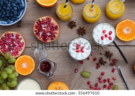 Preparation of fruit to eating, drinking or cooking. Healthy food background, creme pudding - stock photo