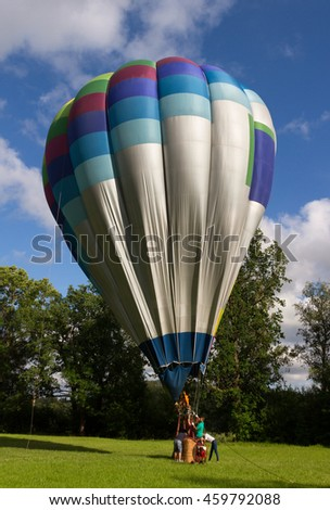 Preparation of hot air balloon to fly.