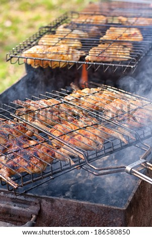 Preparation of marinated quail and fish on the grill grate on nature background - stock photo