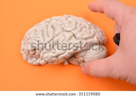 preparation of taking pictures of a 3D human brain model from external on orange background - stock photo