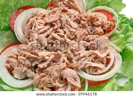 Preparation of Thai spicy Tuna with Green salad onion and tomato, closeup - stock photo