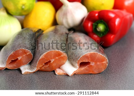 preparation: river trout and vegetables with copy space