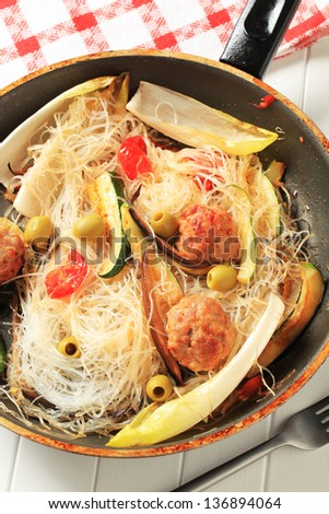 Preparation spicy noodle stir fry - stock photo