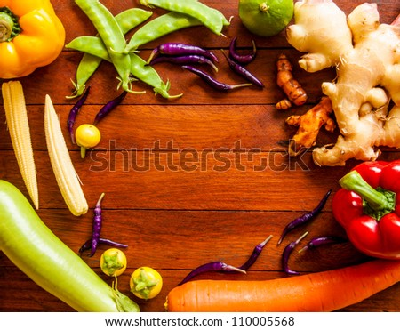 Preparation vegetables on wooden table. - stock photo