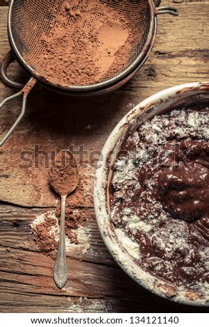 Preparations for making homemade chocolate with nuts - stock photo