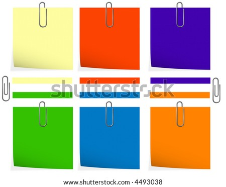 Preparations under a note of various colors with a clip in the form of a paper clip