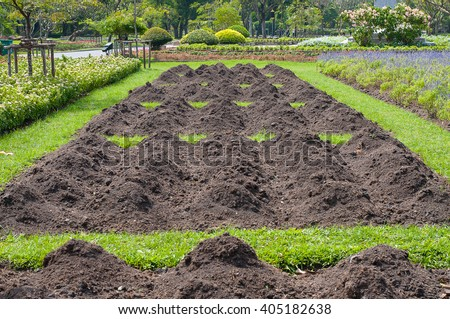 Prepare the soil for planting in  the plubic garden - stock photo