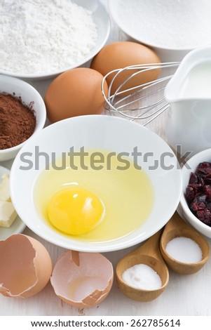 prepared baking ingredients, vertical, top view - stock photo