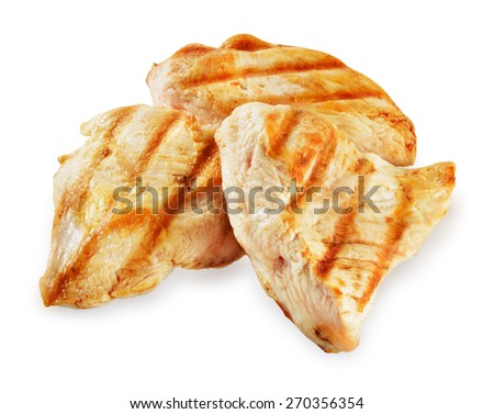 Prepared chicken meat. Breast fillet slices isolated. Clipping path.