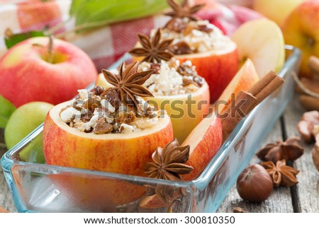 prepared for baking stuffed apples in a glass form, horizontal - stock photo
