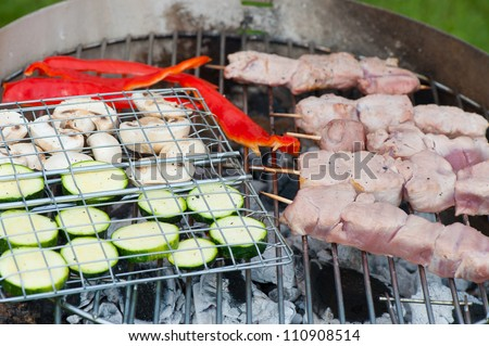 Prepared fresh vegetables and skewered meat ready to grill over the hot coals on an outdoor  barbecue - stock photo