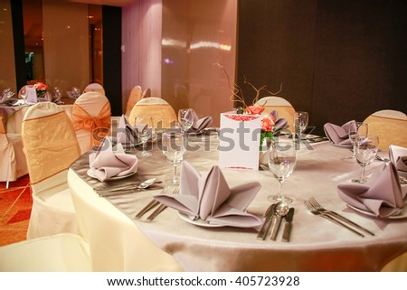 prepared gala dinner table - stock photo
