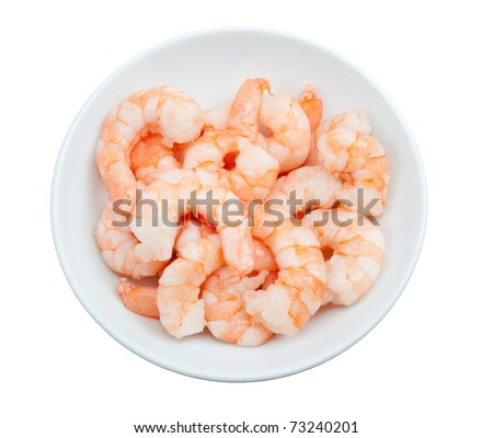 prepared shrimp in a bowl  isolated on a white background