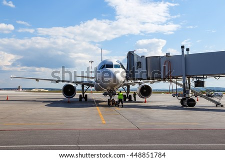 Preparing a passenger jet aircraft for flight at the airport