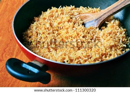 Preparing Biryani rice - stock photo