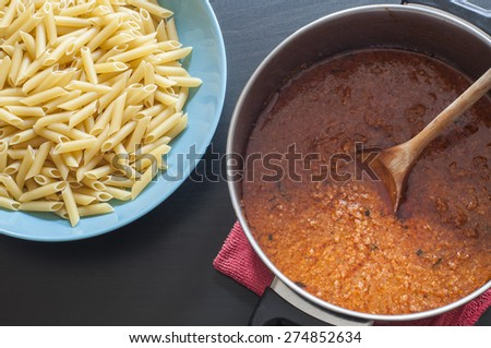 Preparing bolognese sauce - stock photo