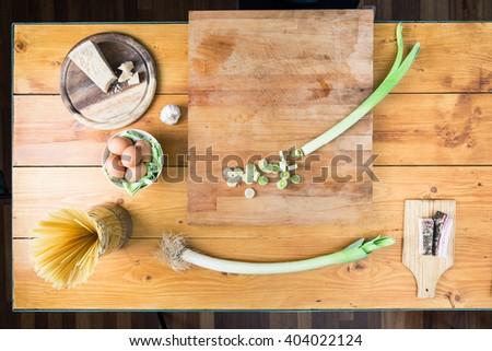 Preparing carbonara's pasta. Ingredients background. - stock photo