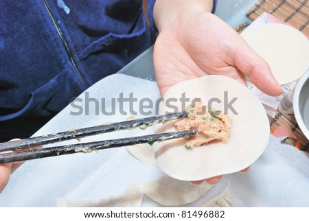 Preparing chinese dumplings - stock photo