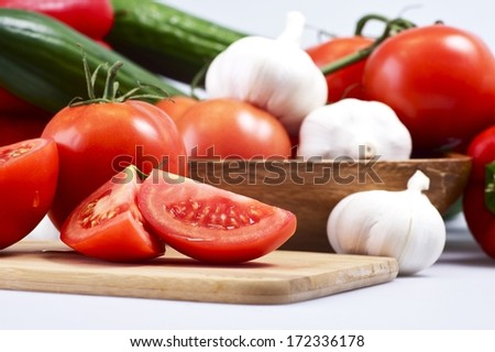 Preparing Dinner. Fresh Organic Vegetable Ingredients. - stock photo